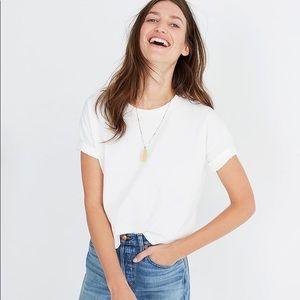 ZARA Womens Cuffed Sleeve Cropped T Shirt NEW